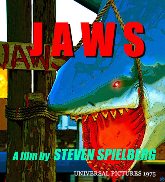 Steven Spielberg Painting - Jaws Retro Movie Poster B by David Lee Thompson