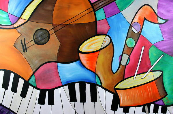Painting - Jazz Band Inspired By Eric Waugh by Bob Baker