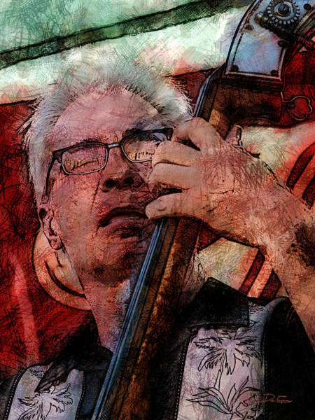 Digital Art - Jazz Bass Man by Gary De Capua