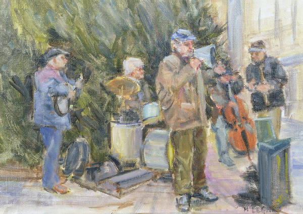 Busker Wall Art - Photograph - Jazz Buskers, Prague Oil On Canvas by Miranda Legard