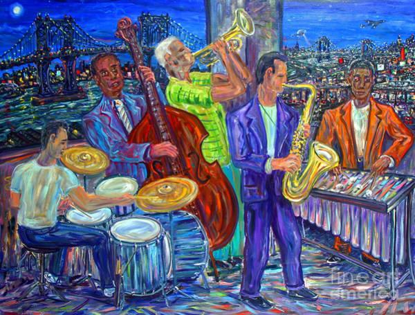Sax Painting - Jazz By The Bridge by Arthur Robins