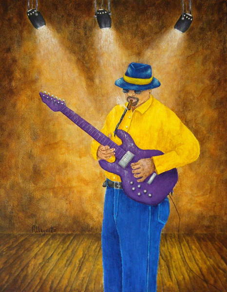 Electric Blues Painting - Jazz Guitar Man by Pamela Allegretto