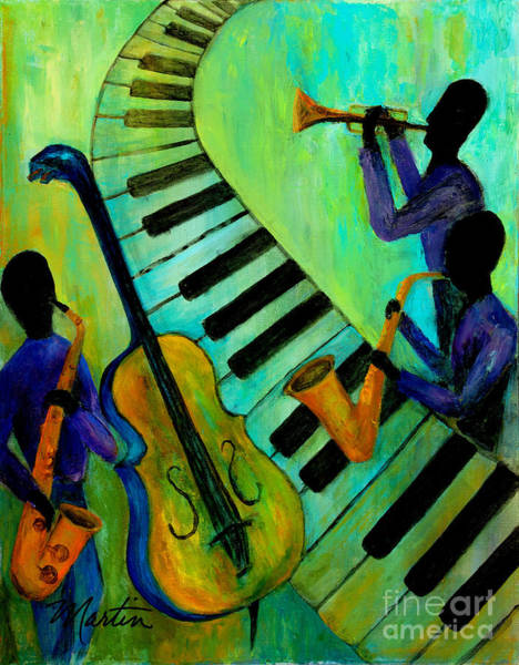 Wall Art - Painting - Jazz In A Cool Mood by Larry Martin