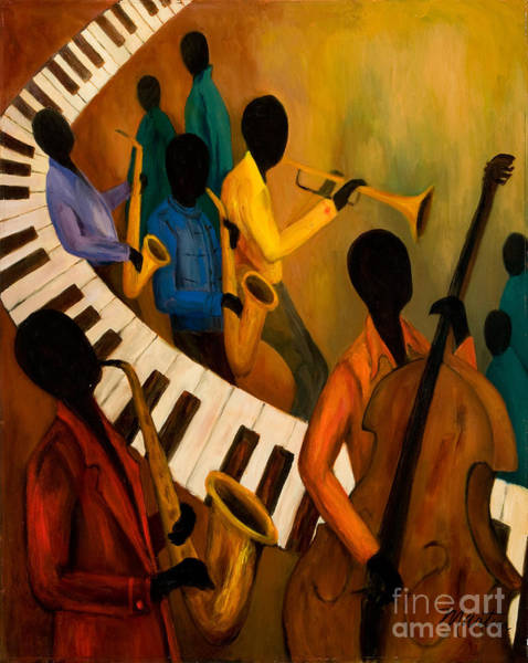 Wall Art - Painting - Jazz Quintet And Friends by Larry Martin