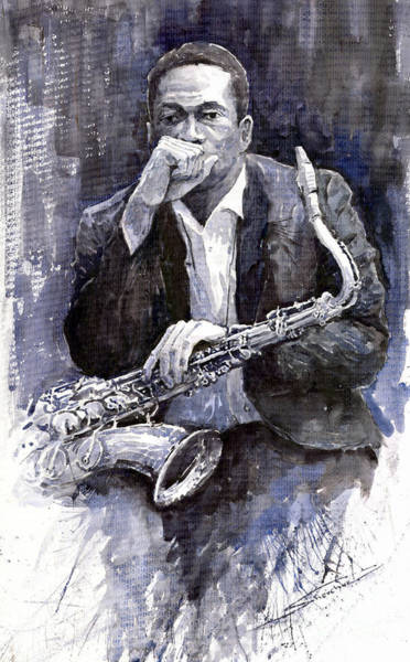 Watercolours Wall Art - Painting - Jazz Saxophonist John Coltrane Black by Yuriy Shevchuk