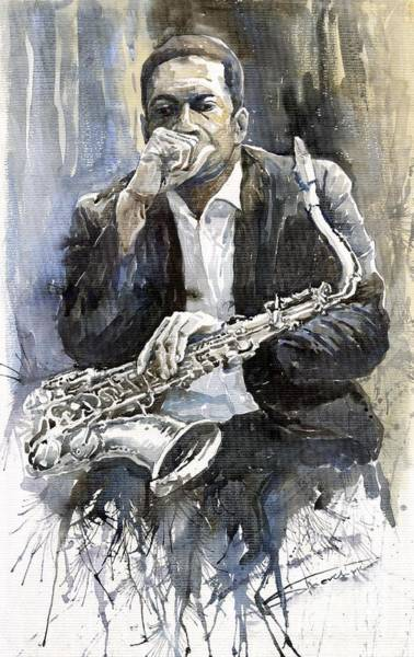 Watercolours Wall Art - Painting - Jazz Saxophonist John Coltrane Yellow by Yuriy Shevchuk