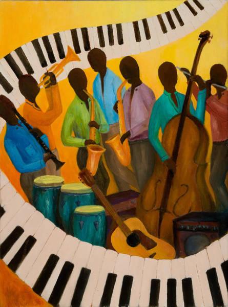 Bass Guitar Painting - Jazz Septet by Larry Martin