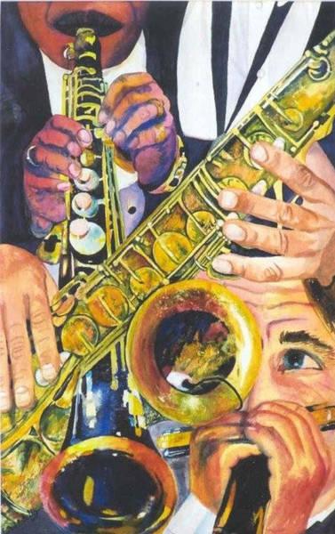 Sax Painting - Jazz Trio by Susan Duda