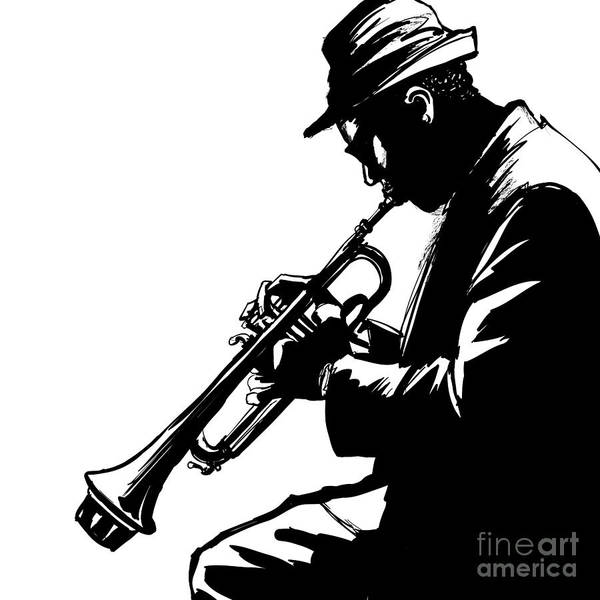 Grunge Music Wall Art - Digital Art - Jazz Trumpet Player-vector Illustration by Isaxar
