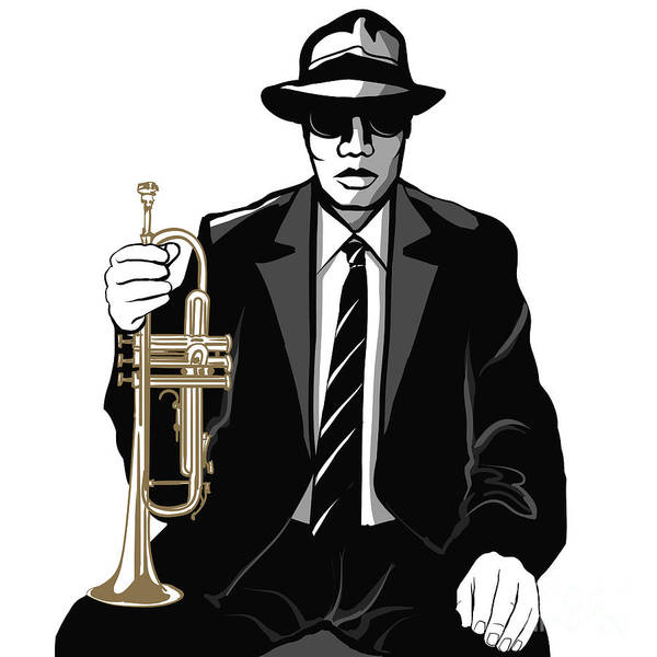 African American Wall Art - Digital Art - Jazz Trumpet Player - Vector by Isaxar