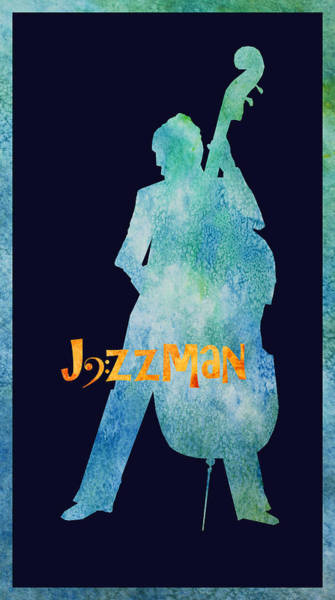 Bass Player Wall Art - Digital Art - Jazzman by Jenny Armitage