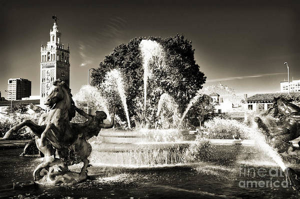 Photograph - Jc Nichols Memorial Fountain Bw 1 by Andee Design