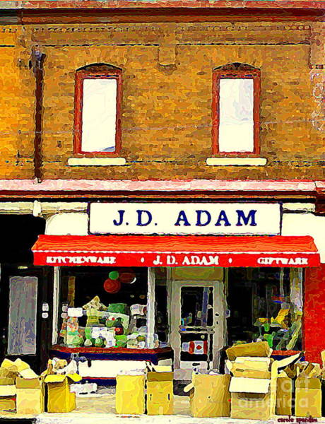 Painting - Jd Adam Kitchen Giftware The Glebe Streetscenes Storefronts Old Ottawa City Paintings C Spandau by Carole Spandau