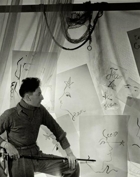 Jean Cocteau With A Cane And Drawings Art Print by Cecil Beaton
