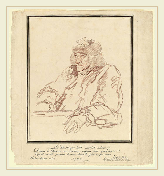 Stipple Drawing - Jean Huber, Voltaire, Swiss, 1721-1786, 1790 by Litz Collection