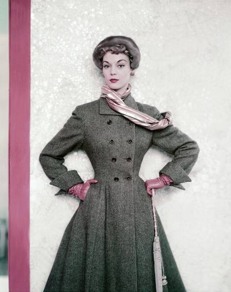 Celebrities Photograph - Jean Patchett Wears A Paris Collections Coat by Horst P. Horst