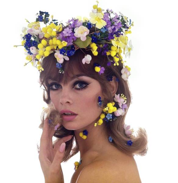 Eyeliner Wall Art - Photograph - Jean Shrimpton Wearing A Flower Crown by Bert Stern