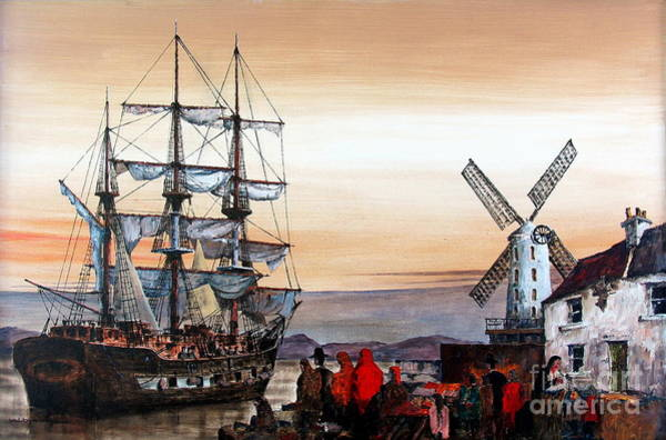Painting - Jeanie Johnston Famine Ship by Val Byrne