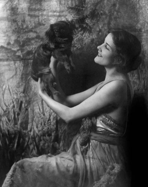 1921 Photograph - Jeanne Eagels Lifting Up A Small Dog by Arnold Genthe