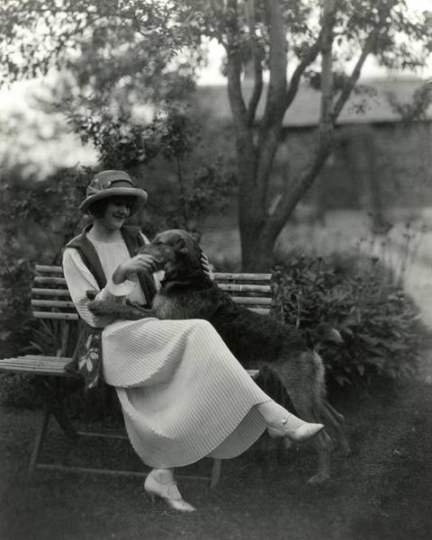 Photograph - Jeanne Eagels Sitting Down On A Park Bench by Maurice Goldberg