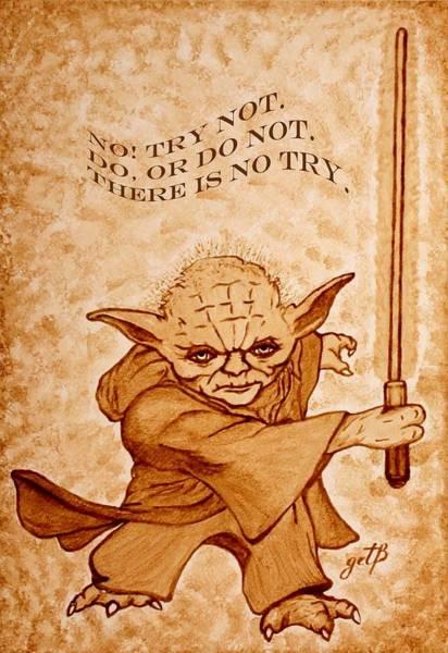Painting - Jedi Yoda Wisdom by Georgeta  Blanaru