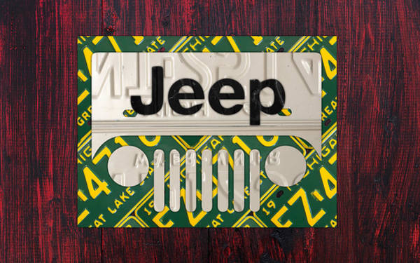 Jeep Wall Art - Mixed Media - Jeep Vintage Logo Recycled License Plate Art by Design Turnpike