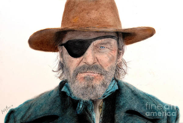 Scarf Drawing - Jeff Bridges As U.s. Marshal Rooster Cogburn In True Grit  by Jim Fitzpatrick