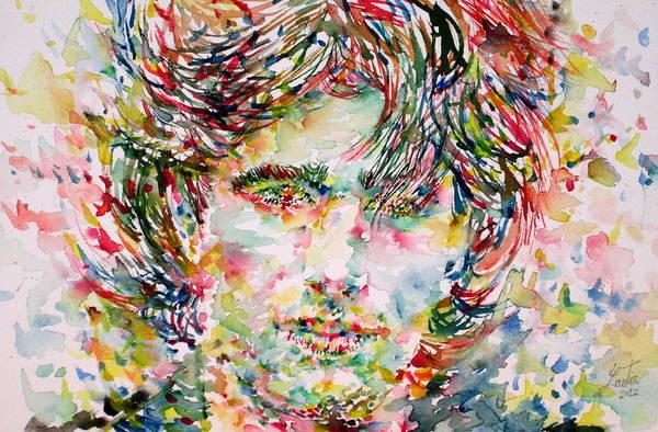 Jeff Buckley Wall Art - Painting - Jeff Buckley Watercolor Portrait.1 by Fabrizio Cassetta