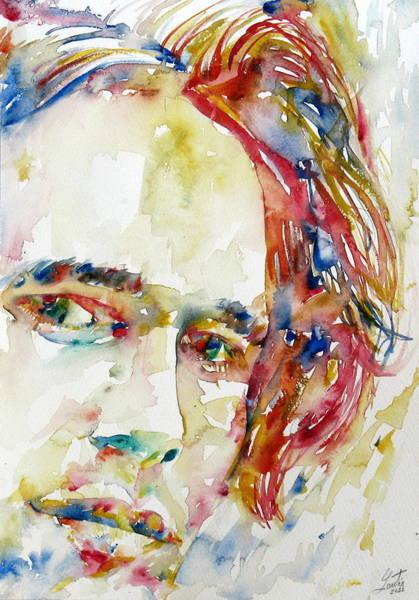 Jeff Buckley Wall Art - Painting - Jeff Buckley Watercolor Portrait.2 by Fabrizio Cassetta