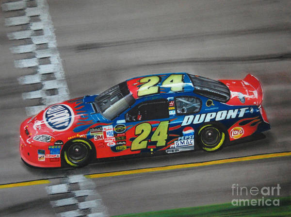 Chevrolet Drawing - Jeff Gordon Dupont Chevrolet by Paul Kuras