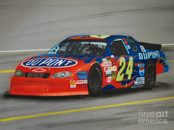 Chevrolet Drawing - Jeff Gordon Hits Pit Road by Paul Kuras