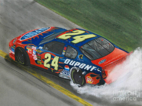 Chevrolet Drawing - Jeff Gordon Wins by Paul Kuras