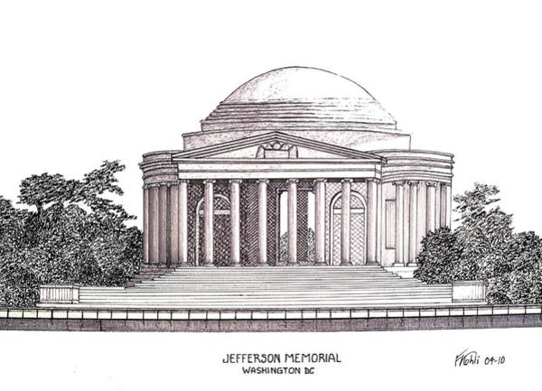 Ink Pen Drawing - Jefferson Memorial by Frederic Kohli