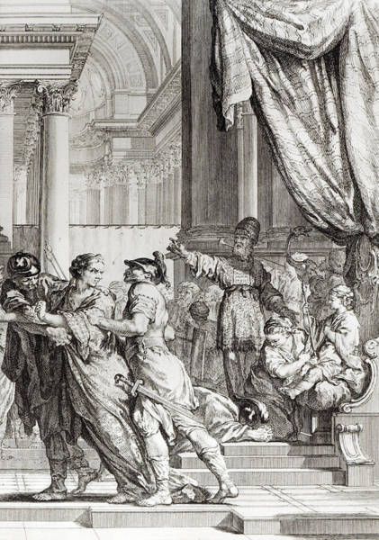 Royal Court Drawing - Jehoiada by Jean-Jacques Flipart