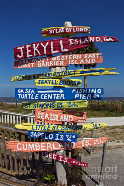 Painted Turtle Photograph - Jekyll Island Sign by Joan McCool