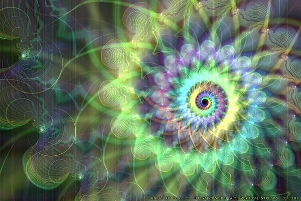 Digital Art - Jellyfish Spiral With Vertical Streak  by Ann Stretton