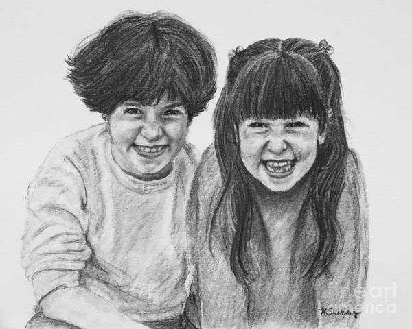 Drawing - Jennifer's Children Portrait by Kate Sumners