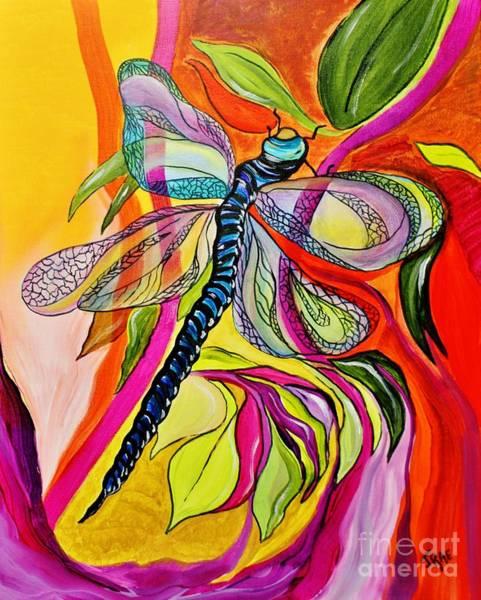 Seamless Painting - Jenny's Dragonfly In Acrylic by Janice Pariza