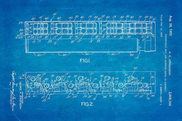 Sleeper Photograph - Jergenson Aircraft Sleeper Cabin Patent Art 1952 Blueprint by Ian Monk