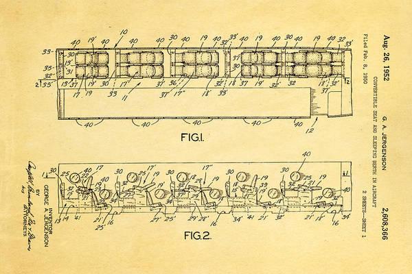 Sleeper Photograph - Jergenson Aircraft Sleeper Cabin Patent Art 1952 by Ian Monk