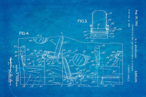 Sleeper Photograph - Jergenson Aircraft Sleeper Cabin Patent Art 2 1952 Blueprint by Ian Monk