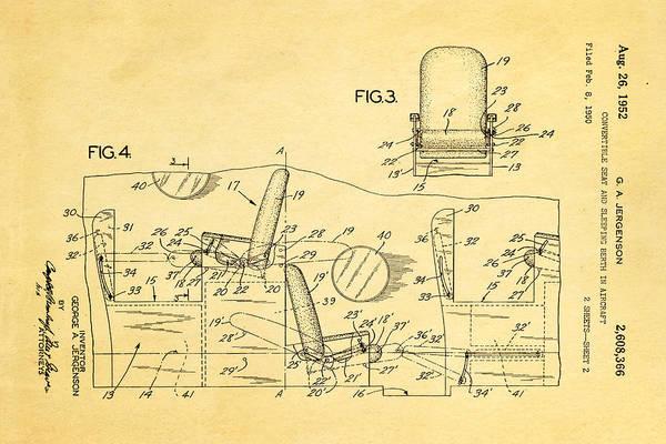 Sleeper Photograph - Jergenson Aircraft Sleeper Cabin Patent Art 2 1952 by Ian Monk