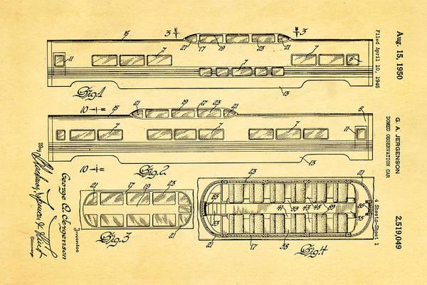 Wall Art - Photograph - Jergenson Railway Car Patent Art 1950 by Ian Monk