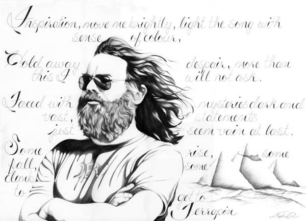 Terrapin Station Wall Art - Drawing - Jerry Garcia/grateful Dead by Stephanie Carrier
