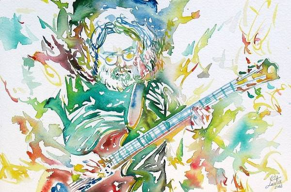 Concert Painting - Jerry Garcia Playing The Guitar Watercolor Portrait.1 by Fabrizio Cassetta