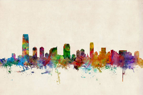 Watercolour Digital Art - Jersey City Skyline by Michael Tompsett