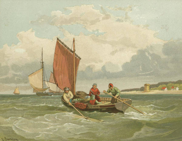 Wall Art - Drawing - Jersey Fishermen          Date Circa by Mary Evans Picture Library