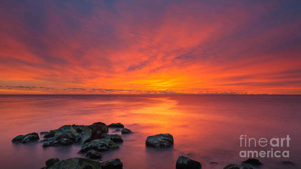 Fire In The Sky Wall Art - Photograph - Jersey Shores Fire In The Sky 16x9 by Michael Ver Sprill