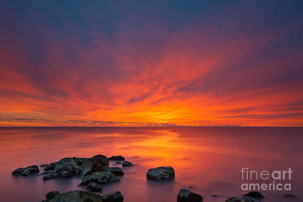 Fire In The Sky Wall Art - Photograph - Jersey Shores Fire In The Sky Version 2 by Michael Ver Sprill