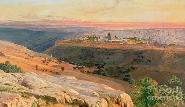 Fire In The Sky Wall Art - Painting - Jerusalem From The Mount Of Olives by Edward Lear